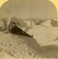 Suisse Alpiniste Au Sommet Du Monte Rosa Mont Rose Ancienne Photo Stereo Gabler 1885 - Stereoscopic