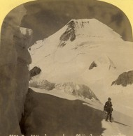 Suisse Vue Sur Le Mönchjoch Monch Ancienne Photo Stereo Gabler 1885 - Stereoscopic