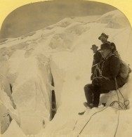 Suisse Alpinistes Sur Un Glacier Ancienne Photo Stereo Gabler 1885 - Stereoscopic
