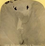 Suisse Pont De Glace Sur La Jungfrau Ancienne Photo Stereo Gabler 1885 - Stereoscopic