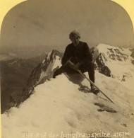 Suisse Alpiniste Au Sommet De La Jungfrau Ancienne Photo Stereo Gabler 1885 - Stereoscopic