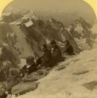 Suisse Alpinistes Au Sommet De La Jungfrau Ancienne Photo Stereo Gabler 1885 - Stereoscopic