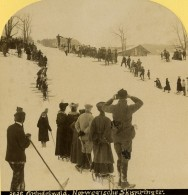 Suisse Grindelwald Courses De Ski Nordique Ancienne Photo Stereo Gabler 1885 - Stereoscopic