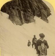 Suisse Alpinistes Au Pied De La Jungfrau Ancienne Photo Stereo Gabler 1885 - Stereoscopic