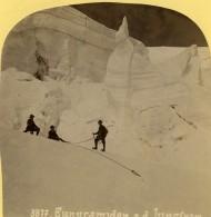 Suisse Pyramides De Glace Sur La Jungfrau Ancienne Photo Stereo Gabler 1885 - Stereoscopic