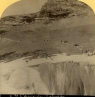 Suisse Randonneurs Sur Le Glacier De L'Eiger Ancienne Photo Stereo Gabler 1885 - Stereoscopic