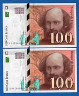 100  Fr  Suite  2  Billets  1998 - 1992-2000 Dernière Gamme