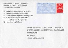 """PAPREPONSE TSC """"ELECTIONS 2007 CHAMBRES D'AGRICULTURE"""" Avec Timbre """"Marianne De Lamouche/Phil@poste"""" - Entiers Postaux"""