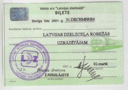 Latvia. Railway Ticket Card - Carte De Circulation 2001 - Railway