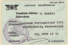 Lithuania. Railway Ticket Card - Carte De Circulation 2000 - Railway