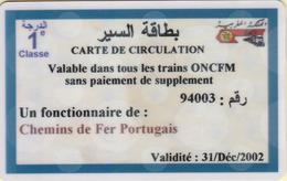 Morocco. Railway Ticket Card - Carte De Circulation 2002 - Railway