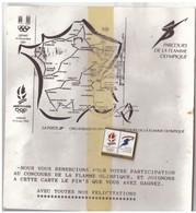 1 Pin's : Parcours De La Flamme Olympique Albertville 92 Et Certificat De Participation Au Concours. - Winter Sports