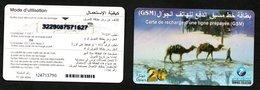 Tunisia- GSM-Tunisie Telecom-Carte De Recharge 20 DNT-  Dromadaires- Desert- Camels - Tunisia