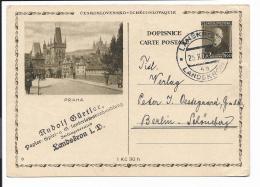 CSSR  P 49-08 - 1,20 Kc Masaryk BiPo Praha N. Berlin Bedarfsverwendet - Entiers Postaux