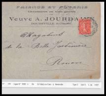 20523 Convoyeur Ligne 2949 St Valery En Caux à Motteville Enveloppe En Tete Faience Jourdaine Doudeville Ferroviaire - Poste Ferroviaire