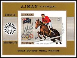 Ajman - 2604/ N° 327 B  Jeux Olympiques (olympic Games) MUNICH Winkler Cheval (chevaux Horse) ** MNH Non Dentelé Imperf - Sommer 1972: München