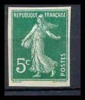 France N°137 5 C Vert Foncé Type Semeuse Non Dentelé Gomme Coulee (Imperforate) - France