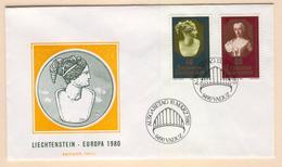 LIECHTENSTEIN Europa 1980 (Important Personalities) First Day Cover Mi. Nr. 741-742 - Europa-CEPT