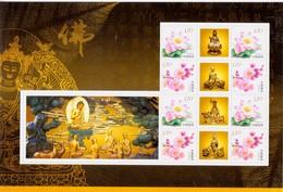 China 2013-14 Gold Bronze Buddha Statues And Lotus Special Sheet - Buddhism