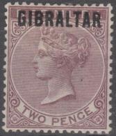 GIBRALTAR - 1886  2d Queen Victoria. Scott 3. Mint * - Gibraltar