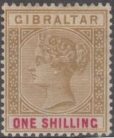 GIBRALTAR - 1898 1/- Queen Victoria. Scott 21. Mint (toned Gum) - Gibraltar