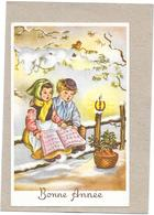CPA COLORISEE FETES - BONNE ANNEE - Couple D'enfants Chantant Sous La Neige - ENCH2011/SAL - - Año Nuevo
