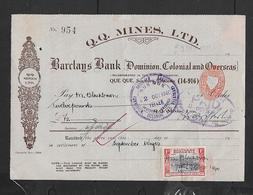 S.Rhodesia 1d On Large Cheque Form For Q.Q. MINES  Drawn On - Barclays Bank DCO, Que Que S.Rhodesia. - Southern Rhodesia (...-1964)