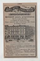 Liège Grand Hôtel Charlemagne Mouzon 1895 - Publicités