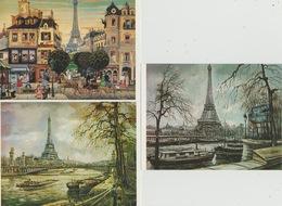 18 / 7 / 80  -  LOT  DE  6  CPM  -  TOURS   EIFFEL   DE  PARIS  - ( DESSINS ) - Cartes Postales