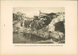 Kupfertiefdruck : Amerikanische Truppen Gesprengte Brücke über Vesle Bei Fismes (4.9.1918) - 1. Weltkrieg - En - Stiche & Gravuren