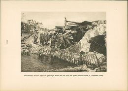 Kupfertiefdruck : Amerikanische Truppen Gesprengte Brücke über Vesle Bei Fismes (4.9.1918) - 1. Weltkrieg - En - Prenten & Gravure