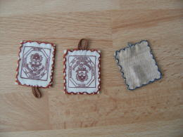 Lot De 2  Image Pieuse Religieuse  Holly Card En Tissu Voile  Monastere Carmelite Creteil - Images Religieuses