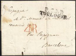 """1827. TOLOSA A BARCELONA. MARCA """"P.30.P./TOULOUSE"""" NEGRO. 4R REALES ROJO. MNS. """"PAR PERPIGNAN"""". 5 DÉCIMAS SATISFECHAS. - 1801-1848: Precursores XIX"""
