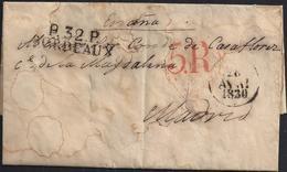 """1830. BURDEOS A MADRID. MARCA """"P.32.P./BORDEAUX"""" Y FECHADOR NEGRO. 5R REALES NEGRO. FECHADOR AL DORSO. DESINFECTADA. - 1801-1848: Precursores XIX"""