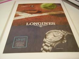 ANCIENNE PUBLICITE MONTRE LONGINES ET ROLAND GARROS 2018 - Jewels & Clocks