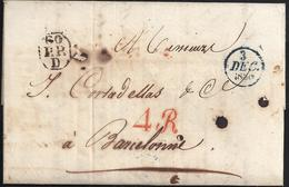 1830. PARÍS A BARCELONA. PORTES PAGADO EN NEGRO Y AZUL. 4R REALES ROJO. 10 DÉCIMAS SATISFECHAS. CARTA DESINFECTADA. - 1801-1848: Precursores XIX