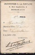 Bordeaux (33 Gironde) Distribution Des Prix INSTITUTION LA FONTAINE 1886 (PPP13695) - Diplomi E Pagelle