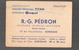 Bordeaux   (33 Gironde) Carte Commerciale PEDRON Automobiles PEUGEOT (PPP13687) - Publicités