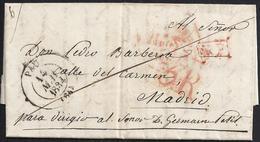 """1834. ROUEN A MADRID. FECHADOR TIPO FLORÓN Y """"P.P."""" RECUADRADO. 5R REALES Y TRAZO FRANQUEO. 19 DÉCIMAS SATISFECHAS. - 1801-1848: Precursores XIX"""
