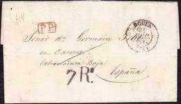 """1835. ROUEN A CÁCERES. FECHADOR Y """"P.P."""" RECUADRADO. 7Rs REALES Y TRAZO FRANQUEO. AL DORSO 12 DÉCIMAS DE FRANCO. - 1801-1848: Precursores XIX"""