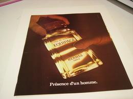 ANCIENNE AFFICHE  PUBLICITE PARFUM EQUIPAGE  DE HERMES 1979 - Perfume & Beauty