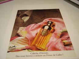 ANCIENNE AFFICHE  PUBLICITE PARFUM CALECHE DE HERMES 1980 - Parfums & Beauté