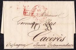 """1836. PARÍS A CÁCERES. FECHADOR """"BUREAU CENTRAL"""" ROJO Y """"P.P."""" RECUADRADO ROJO. 10Rs REALES NEGRO. ESPECTACULAR. - 1801-1848: Precursores XIX"""