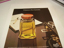 ANCIENNE AFFICHE  PUBLICITE PARFUM EQUIPAGE  DE HERMES 1980 - Perfume & Beauty