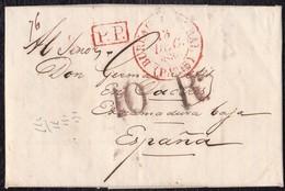 """1836. PARÍS A CÁCERES. FECHADOR """"BUREAU CENTRAL/PARIS"""" Y """"P.P"""" RECUADRADO. 10Rs REALES ROJO. 24 DÉCIMAS SATISFECHAS. - 1801-1848: Precursores XIX"""