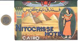 ETIQUETA DE HOTEL  - NITOCRISSE HOTEL   -EL CAIRO -EGYPTO - Hotel Labels