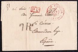 "1837. PARÍS A CÁCERES. FECHADOR ""BUREAU CENTRAL/PARIS"" Y ""P.P."" RECUADRADO. 7Rs REALES NEGRO. 12 DÉCIMAS SATISFECHAS. - 1801-1848: Precursores XIX"