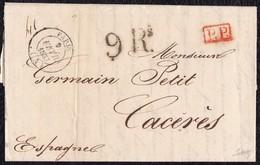"""1837. PARÍS A CÁCERES. FECHADOR NEGRO Y """"P.P."""" RECUADRADO EN ROJO. PORTEO 9Rs REALES NEGRO. 24 DÉCIMAS SATISFECHAS. - 1801-1848: Precursores XIX"""