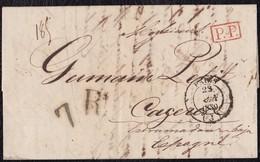 """1839. PARÍS A CÁCERES. FECHADOR NEGRO Y """"P.P."""" RECUADRADO ROJO. PORTEO 7Rs REALES NEGRO. 12 DÉCIMAS SATISFECHAS. - 1801-1848: Precursores XIX"""