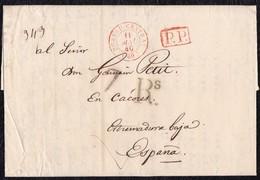 """1840. PARÍS A CÁCERES. FECHADOR """"BUREAU CENTRAL"""" Y """"P.P."""" RECUADRADO ROJO. PORTEO 7Rs REALES. 12 DÉCIMAS SATISFECHAS. - 1801-1848: Precursores XIX"""